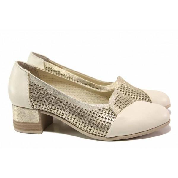 Ефектни дамски обувки с анатомична стелка; естествена кожа; еласично ходило / ТЯ 222 бежов / MES.BG