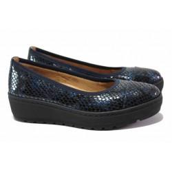 Дамски обувки на ортопедично ходило; гъвкава платформа ; естествена кожа-лак с ''кроко'' мотив / SOFTMODE 2313 Michelle син кроко / MES.BG