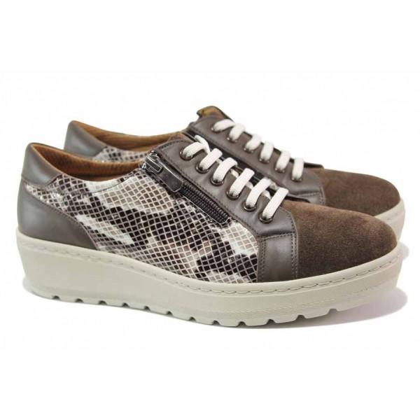 Дамски ортопедични обувки от естествена кожа SOFTMODE 2314 Marie визон | Дамски обувки на платформа | MES.BG