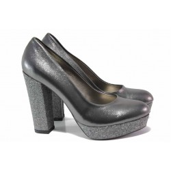 Елегантни дамски обувки; висок ток; комфортно ходило; естествена кожа / ФА 217 т.сребро / MES.BG