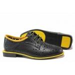 Модерни дамски обувки; естествена кожа; перфорация; връзки при свода / МИ 513 черен-жълт / MES.BG