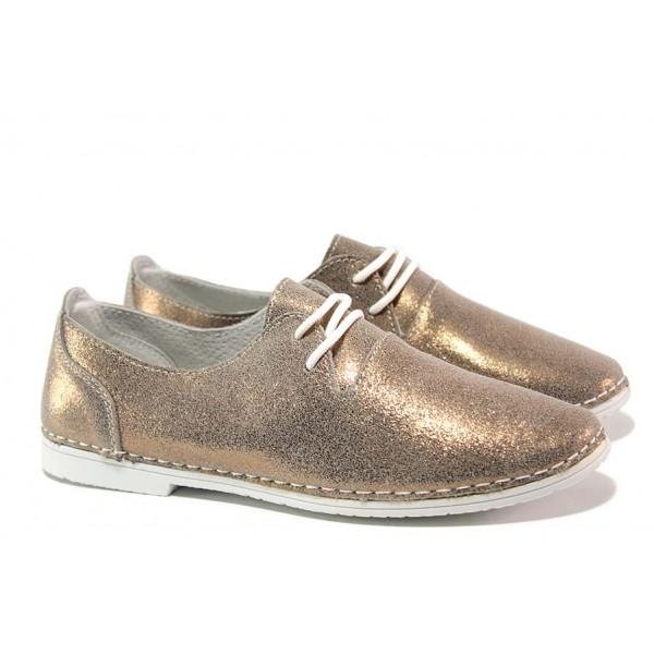 Анатомични дамски обувки; гъвкаво ходило; връзки при свода ; изцяло естествена кожа / АБ JK 14-2019 злато / MES.BG