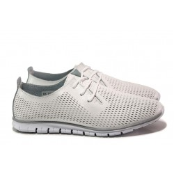 Анатомични спортни обувки; връзки; перфорация; еластично ходило; изцяло естествена кожа / АБ RL 10-20 бял / MES.BG