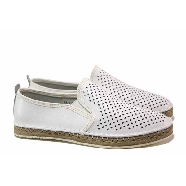 Анатомични дамски обувки; перфорация; еластично ходило; изцяло естествена кожа / АБ RL 11-20 бял / MES.BG