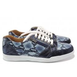 Дамски ортопедични спортни обувки от естествена кожа SOFTMODE 201 Carmen син змия | Дамски маратонки | MES.BG