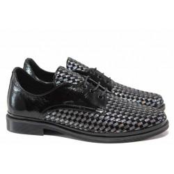 Анатомични дамски обувки, изцяло естествена кожа, удобни, връзки / ТЯ 1139 черен-сребро / MES.BG