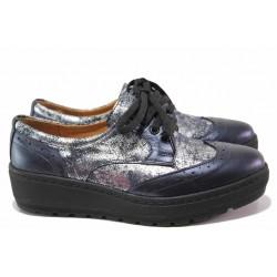 Дамски ортопедични обувки, олекотени, изцяло от естествена сатенирана кожа, платформа / SOFTMODE 2305 Cheryl син / MES.BG