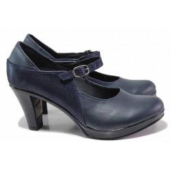 Анатомични дамски обувки, изцяло от естествена кожа, леки, удобни, катарама / НЛ 259-6843 син / MES.BG