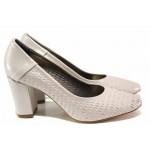 Елегантни дамски обувки, плавна извивка, стабилен ток, кожа с перфорации / ФА 192 св.сребро / MES.BG