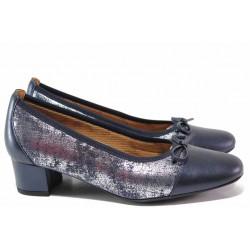 Ортопедични дамски обувки, изцяло от естествена кожа, плавна извивка, леки / SOFTMODE 5602 Gemma син-металик / MES.BG