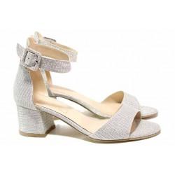 Ефектни дамски сандали, плавна извивка, брокат, каишка с удобно закопчаване - катарама / ФА 198 сребро / MES.BG