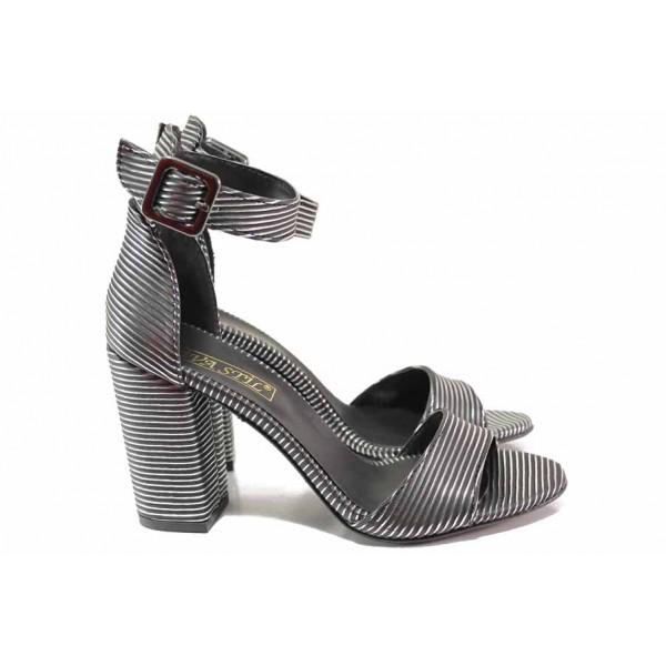 Ефектни дамски сандали, еко-кожа, стабилен ток, катарама / ФА 596 зебра / MES.BG