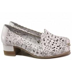 Ортопедични дамски обувки, естествена кожа с перфорации, стелка от естествена кожа, комфортен ток, гъвкаво ходило / ТЯ 204 бял / MES.BG