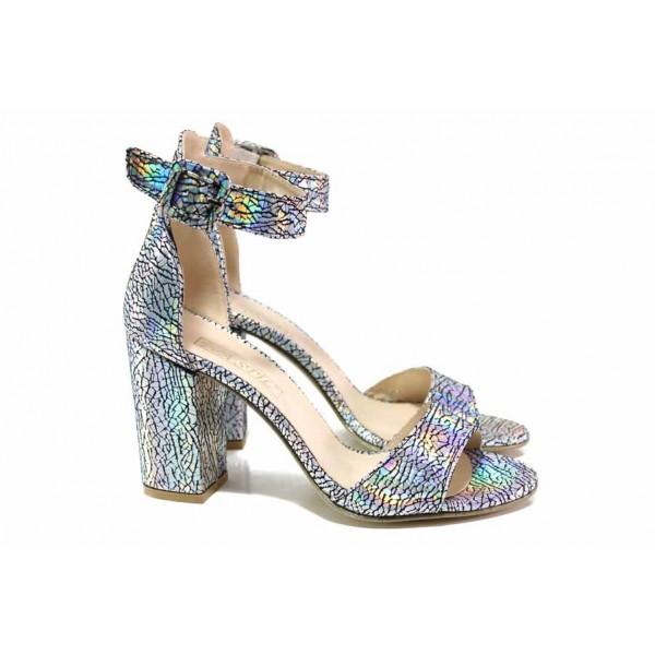 Ефектни дамски сандали в преливащи цветове, висок и стабилен ток, каишка с катарама над свода / ФА 596-2 хамелион / MES.BG
