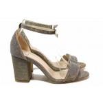 Елегантни дамски сандали, стабилен ток, каишка с катарама над свода / ФА 202-955 св.сребро / MES.BG