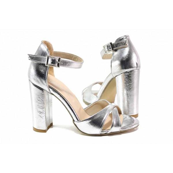 Ефектни дамски сандали в сребрист цвят, абитуриентски, висок ток, катарама / ФА 403-1 сребро / MES.BG