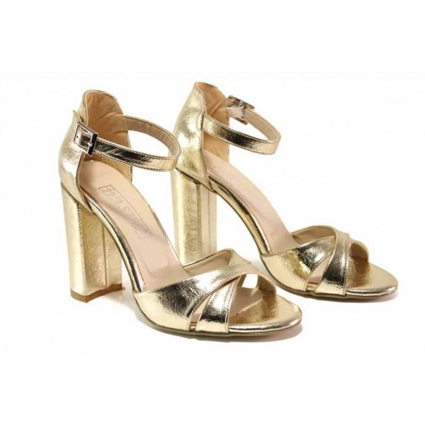 Елегантни дамски сандали в цвят злато, висок ток, закопчаване - катарама, абитуриентски / ФА 403-2 златен / MES.BG