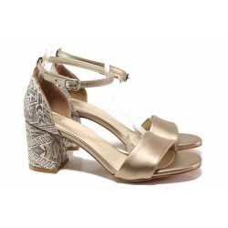 Елегантни дамски сандали, стабилен ток, плавна извивка на хдилото, подвижна каишка с катарама над свода / ФА 869-20 злато / MES.BG
