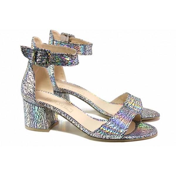 Ефектни дамски сандали в преливащи цветове,  плавна извивка на ходилото, каишка над свода, катарама / ФА 198 хамелеон / MES.BG