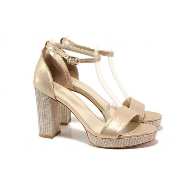 Елегантни дамски сандали в цвят злато, стабилен висок ток, анатомични абитуриентски обувки / ФА 111-5 златен / MES.BG