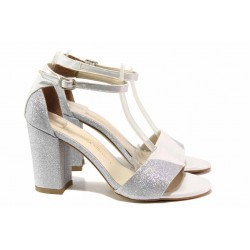 Елегантни дамски сандали, висок ток, закопчаване-катарама, анатомично ходило / ФА 546-7 св.сив-сребро / MES.BG