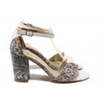 Анатомични дамски сандали, стабилен висок ток, закопчаване-катарама / ФА 546-6 бял-шарен / MES.BG