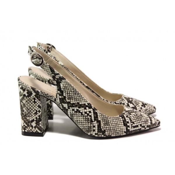 Дамски обувки с отворена пета, змийски принт, ходило с анатомична извивка, висок ток / ФА 1198-1 бежов-кафяв / MES.BG