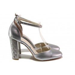 Елегантни дамски обувки на висок ток, анатомично ходило, катарама / ФА 596 св.сребро / MES.BG