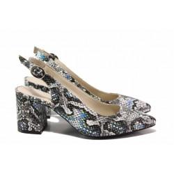 Дамски обувки със змийски принт, анатомично ходило, закопчаване - катарама / ФА 698 син змия / MES.BG