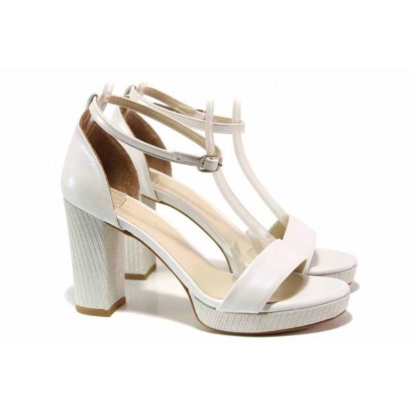 Елегантни дамски сандали, анатомично ходило, висок ток, абитуриентски обувки / ФА 111-4 сребро / MES.BG