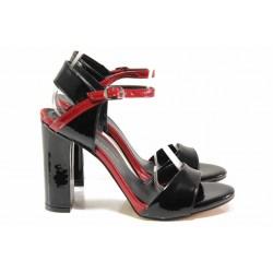 Анатомични дамски сандали, висок ток, закопчаване - катарама / ФА 978 черен лак / MES.BG