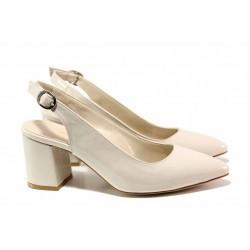 Дамски обувки с отворена пета, анатомично ходило, стабилен ток / ФА 698 бежов лак / MES.BG