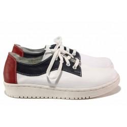 Български анатомични обувки, естествена кожа, спортни дамски обувки / Ани 289-1608 бял-син / MES.BG