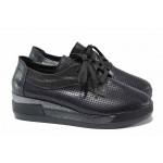 Дамски анатомични обувки, естествена кожа, платформа с комфортна височина / Ани 289-8218 черен / MES.BG