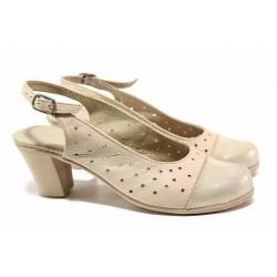 Дамски обувки с отворена пета, естествена кожа, закопчаване-катарама / Ани 267-1705 бежов / MES.BG