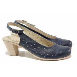 Комфортни дамски обувки за лятото, естествена кожа, отворена пета, анатомично ходило / Ани 267-1705 син / MES.BG
