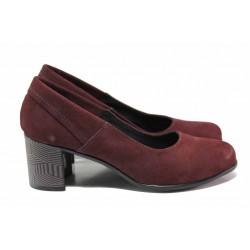 Велурени дамски обувки, анатомично ходило, стабилен ток, естествена стелка / Ани 302-527 бордо / MES.BG