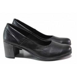 Анатомични дамски обувки, стабилен ток, естествен кожен хастар и стелка / Ани 302-527 черен / MES.BG