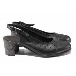 Български дамски обувки за лятото от естествена кожа, анатомично ходило, отворена пета / Ани 267-527 черен / MES.BG