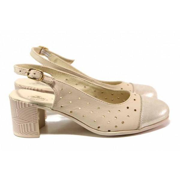 Летни дамски обувки, отворена пета, естествена кожа, закопчаване-катарама / Ани 267-527 бежов / MES.BG
