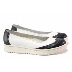 Български анатомични обувки, равно ходило, естествена кожа / Ани 300-1608 бял-черен / MES.BG