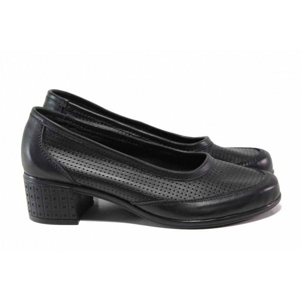 Анатомични дамски обувки на среден ток, естествена кожа с перфорация, среден ток / Ани 262-7251 черен / MES.BG