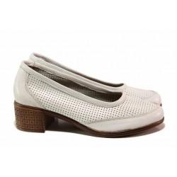 Анатомични дамски обувки на среден ток, перфорация, произведени в България / Ани 262-7251 бял / MES.BG