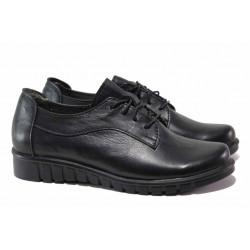 Български дамски обувки, естествена кожа, връзки при свода, комфортно ходило / Ани 289-8526 черен / MES.BG
