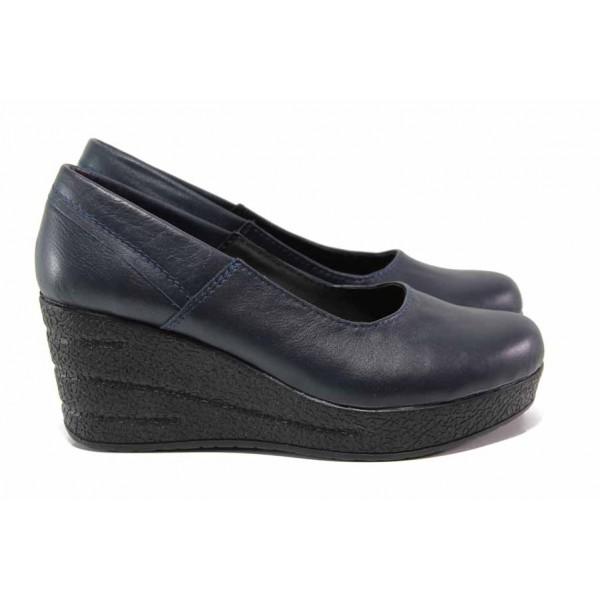 Анатомични дамски обувки, висока платформа, естествена кожа / Ани 302-96145 т.син / MES.BG