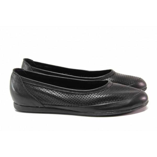 Български обувки за лятото, изцяло от естествена кожа, анатомично ходило / Ани 237-3406 черен / MES.BG