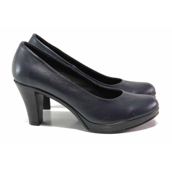 Анатомични дамски обувки, естествена кожа, висок и стабилен ток / Ани 165-6843 черен / MES.BG