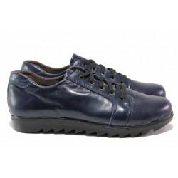 Български дамски обувки, естествена кожа, връзки, комфортно ходило / Ани 228 син / MES.BG