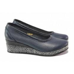 Български дамски обувки с перфорация, анатомично ходило, платформа, естествена кожа / Ани 286-18206 т.син / MES.BG