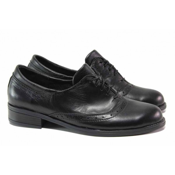 Български дамски обувки, естествена кожа, равни, анатомично ходило / Ани 311 Аризона черен / MES.BG